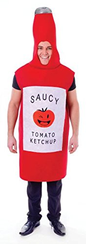 Adult Tomato Saucy Sauce Bottle Stag Hen Halloween Costume Fancy Dress Outfit