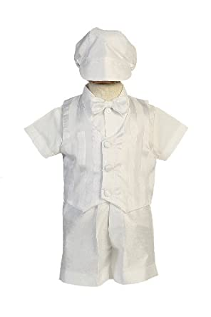Shantung Striped Organza Vest with Shantung Short Baby Boy Christening Baptism Special Occasion Newborn Romper Outfit with Matching Hat - XL (18-24, 23-27 lbs)
