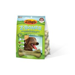 Zuke's Z-Bones Large Grain Free Edible 6 Count Dental Chews, 2.5-Ounce ea, Clean Apple Crisp