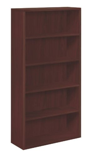 HON 10500 Series Bookcase, 5 Shelves, 36 W by 13-1/8 D by 71 H, Mahogany