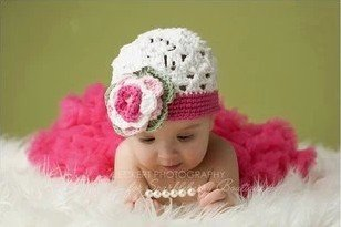 Leegoal 0-1 Year Old Baby Kids Photography Crochet Beanies Hats and Skirt Outfits,Rose red - 1