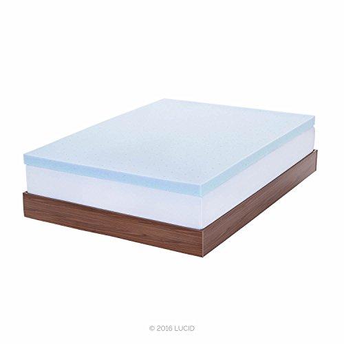 LUCID 3-inch Gel Memory Foam Mattress Topper - Queen (Cooling Mattress Topper compare prices)