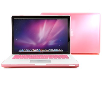 GMYLE(R) Pink Depart Crystal See Thru Hard Shell Clip Snap On Case Skin Cover for Apple 13.3 inches Macbook Pro Aluminum Unibody - With Silicone Pink Protective Keyboard Cover - 2 in 1 -