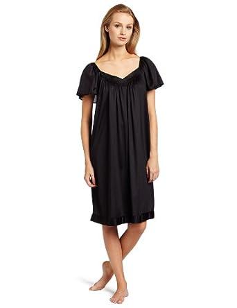 Vanity Fair Women's Colortura Flutter Sleeve Gown, Black, Medium