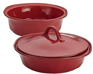 Rachael Ray 3-Piece Cucina Stoneware Round Baker and Lid Set