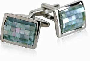 Gray Green Mother of Pearl Mosaic Stainless Steel Cufflinks by Cuff-Daddy