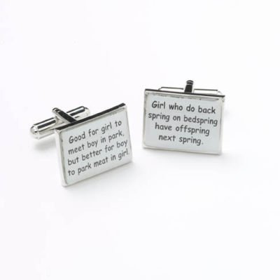 Mens Designer Stainless Steel Chinese Proverbs Cufflinks