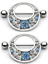 Nipple Ring Bars Butterfly Flower Body Jewelry Pair 14 gauge