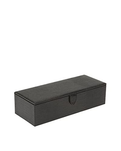WOLF Blake 5-Watch Box, Black Teju Lizard