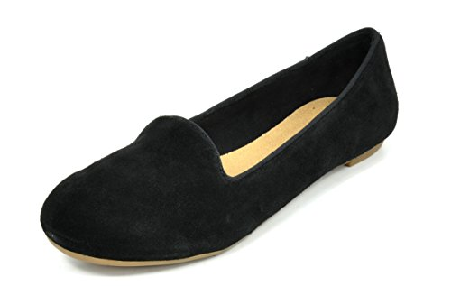 DREAM PAIRS SLIP-EASE Women's Casual Solid Plain Ballet Comfort Suede Slip On Flats Shoes BLACK SIZE 10