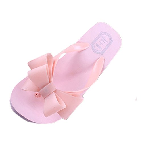 Qianle Women's Summer Sweet Bow Beach Thong Sandals Slipers