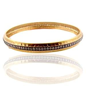DIAMOND HANDMADE BANGLE 18K GOLD ESTATE STYLE JEWELRY