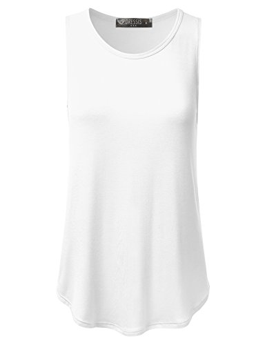 DRESSIS Women's Sleeveless Round Neck Flared Loose Fit Soft Tank Top IVORY M (Womens Semi Cotton Tank Tops compare prices)