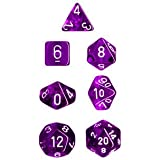Polyhedral 7-Die Translucent Dice Set - Purple