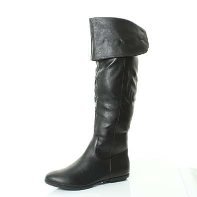 dta4 womens flat black cavalier knee thigh