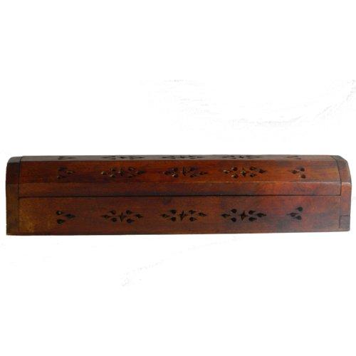 Porta incienso 30cm de madera recuadro accesorio decorativo aroma ahumado