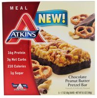 Atkins Advantage Meal Bars Chocolate Peanut Butter Pretzel -- 5 Bars