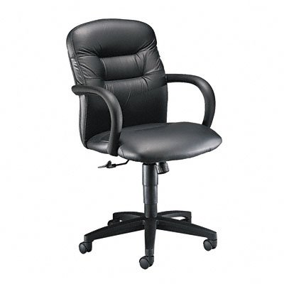 3300 Series Allure Managerial Mid-Back Swivel/Tilt Chair, Black Leather