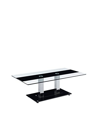 Luxury Home Striped Glass Coffee Table, Black/White