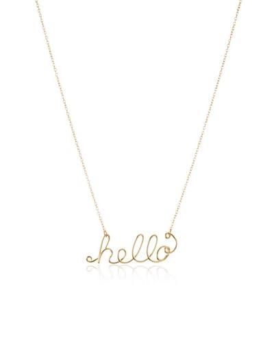 Gauge Pixie Script Hello Necklace