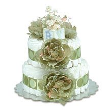 Small Sage Peonies Sage Circle Diaper Cake By Bloomers front-1000066