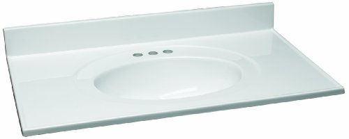 Design House 551382 37-Inch by 22-Inch Marble Vanity Top/Single Bowl, Solid White