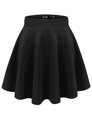 [Thanth Womens Versatile Stretchy Pleated Flare Skater Skirt CWBSS05 Black XL] (Light Up Black Tutu)