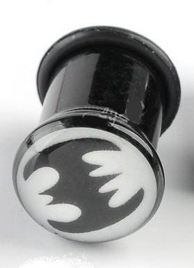 Piercing Boutique UV acrilico nero Batman Logo Ear Flesh Tunnel Expander Plug One Piece 6 mm