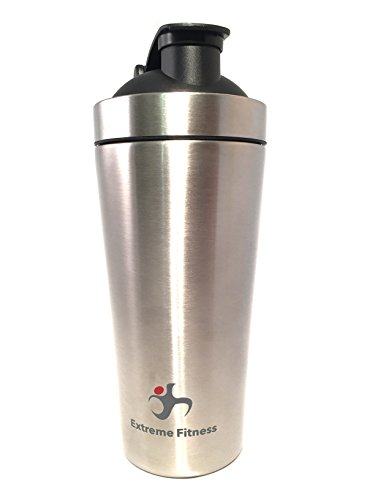 Extreme Fitness Stainless Steel Protein Shaker with Metal Ball Whisk and Built in Agitator (30oz)