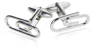 Funny Simple Paperclip Silver Cufflinks with Presentation Box
