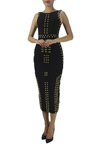2790e27c3e8a Norboe Women's Fashion Beads Night Out Long Bandage Bodycon Gown Maxi Plus  Size Dress (XS, Black)