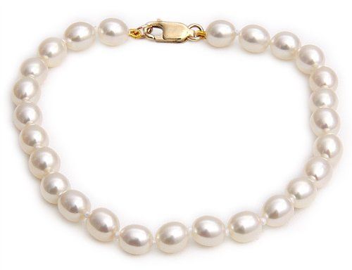 9ct Yellow Gold 5.5-6mm White Rice Shape Cultured Freshwater Pearl Bracelet