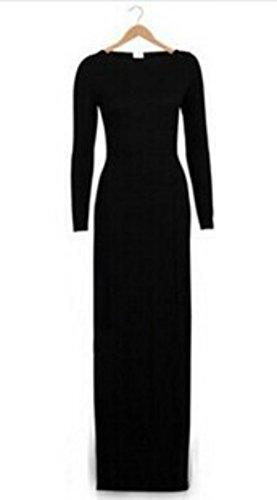 Sunnow Womens Long Sleeve Slit Sexy Slim Bodycon Party Pencil Long Maxi Dress (L, Black)