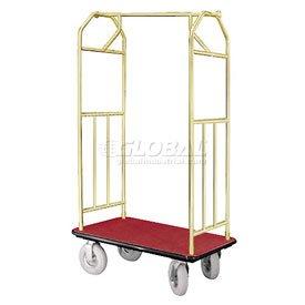 Bellman Hotel Cart 35x24 Satin Brass With Burgundy Carpet And Pneumatic Wheels