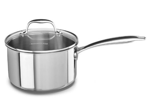 KitchenAid KCT30PLST Tri-Ply Stainless Steel 3.0-Quart Saucepan with Lid Cookware - Stainless Steel (Kitchenaid Pan Lid compare prices)