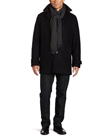 Calvin Klein Men's Wool Single Breasted Car Coat, Black, Medium