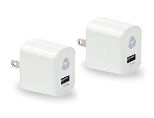 Janko (Tm) 2Pcs 2.1A Universal Usb Travel Wall Charger Ac Power Adapter High Speed Fast Charging For Apple Iphone, Ipad, Ipad Mini, Ipad Air, Ipod, Samsung, Htc, Blackberry And More (White)