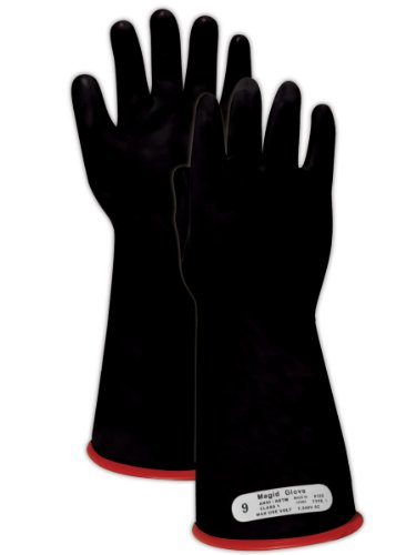 "Magid M1 A.R.C. Natural Latex Rubber Class 1 Insulating Glove With Straight Cuff, Work, 14"" Length, Size 8, Black/Red"