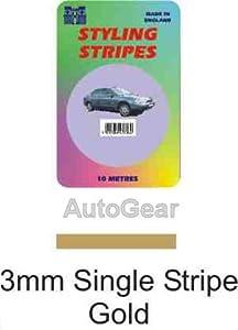 3mm Single Gold 10 Metres Car Van Bike Caravan Auto Coach Line Styling Vinyl Adhesive Pin Strip