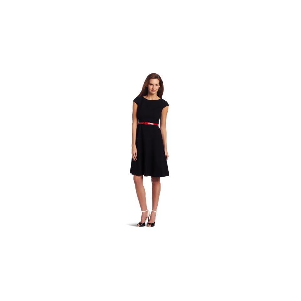 Anne Klein Womens Cap Sleeve Solid Dress