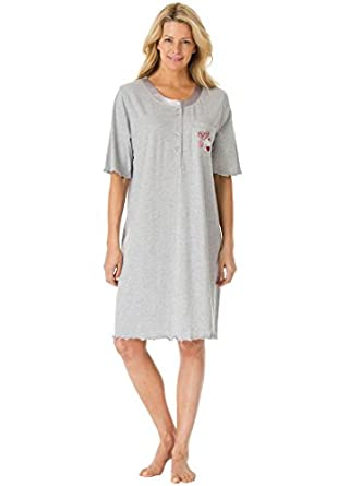 Dreams & Co Women's Plus Size Satin Trim Cotton Sleepshirt Heather Grey,M/L