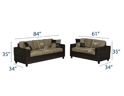 Buy Low Price Poundex Bobkona Seattle Microfiber Sofa and Loveseat 2-Piece Set in Pebble Color (VF_F7593)