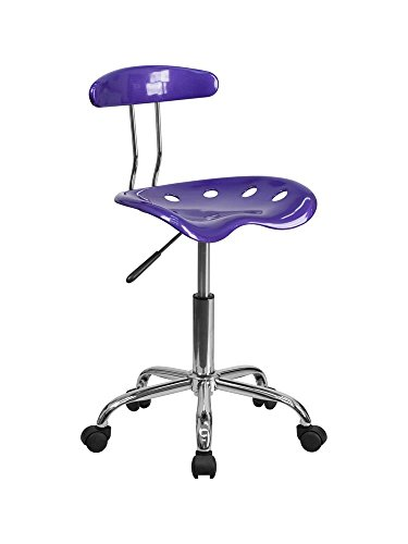 Vibrant Violet and Chrome Computer Task Chair with Tractor Seat [LF-214-VIOLET-GG] electronic consumers