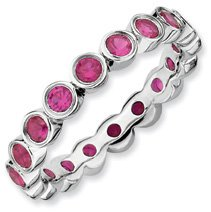 1.78ct Lovingly Yours Silver Stackable Ruby Ring Band. Sizes 5-10 Available