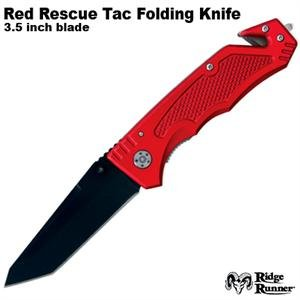 Ridge Runner Rescue Tac Folding Knife: Red