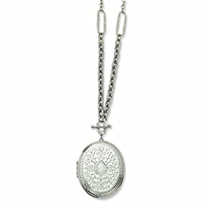 Silver-tone Oval Locket 30 Necklace