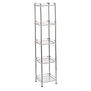 square bathroom tower 5 tier chrome with