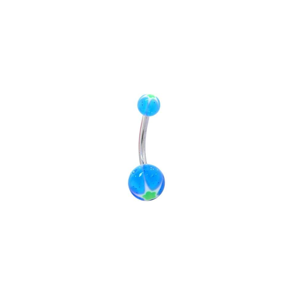 Psychedelich Aqua Star Acrylic Belly Button Ring