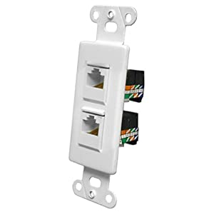 Pro-Wire Jack Plate (2 RJ45), White