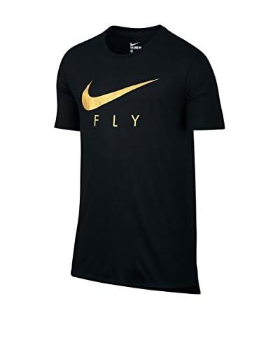 Nike T-Shirt Fly Droptail Tee schwarz/gold